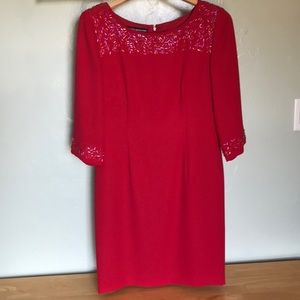 Bugle beaded Hot Red Simple Dress